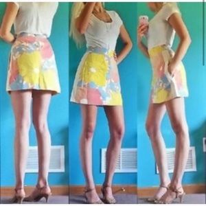 Tracy Fieth Yellow Floral High Waisted Mini Skirt